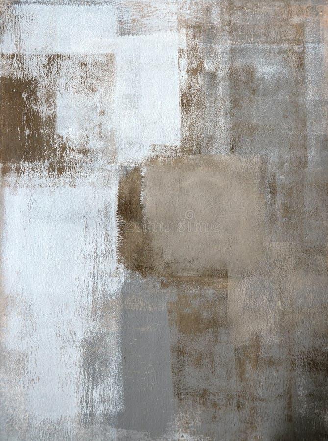 Grijs en Bruin Abstract Art Painting stock fotografie