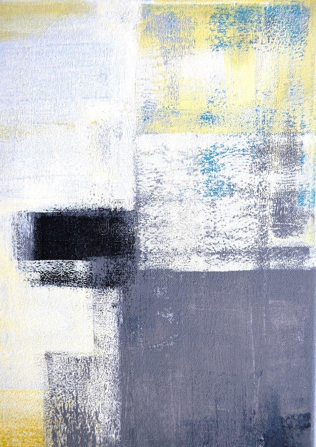 Grijs en Geel Abstract Art Painting royalty-vrije stock afbeeldingen