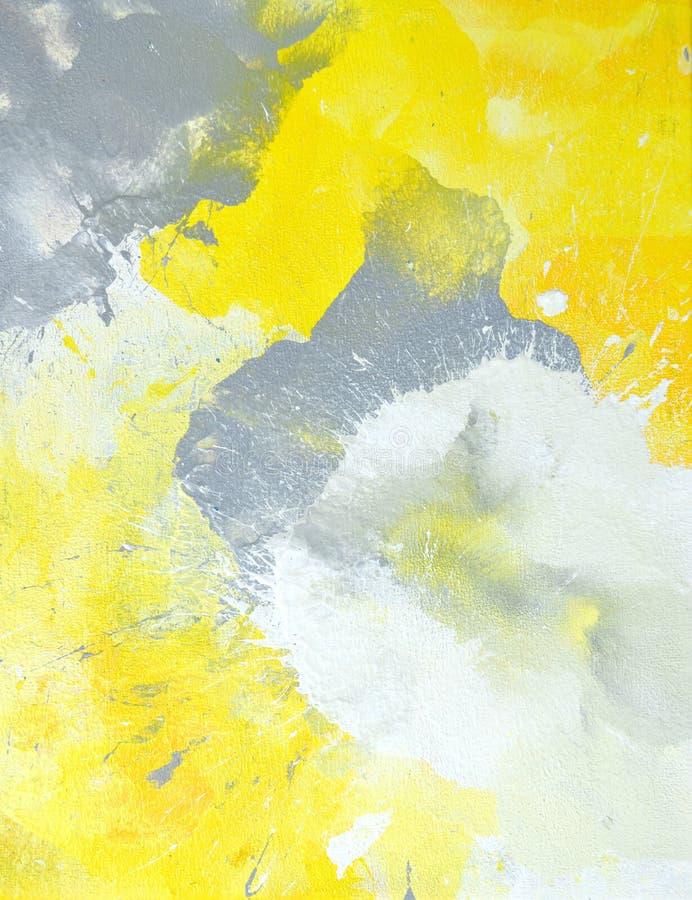 Grijs en Geel Abstract Art Painting stock afbeeldingen