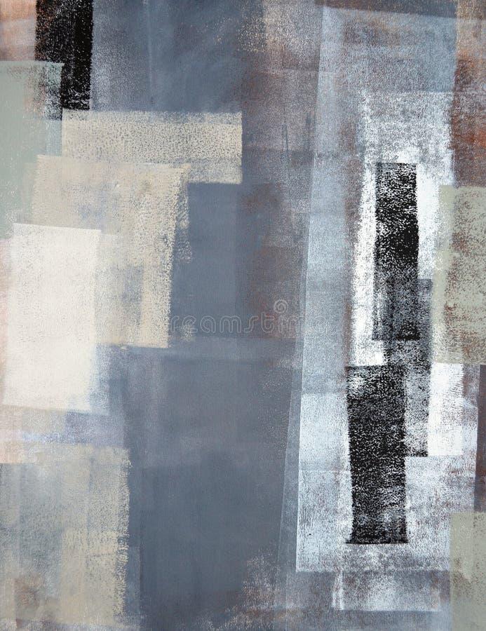 Grijs en Groen Abstract Art Painting stock afbeelding