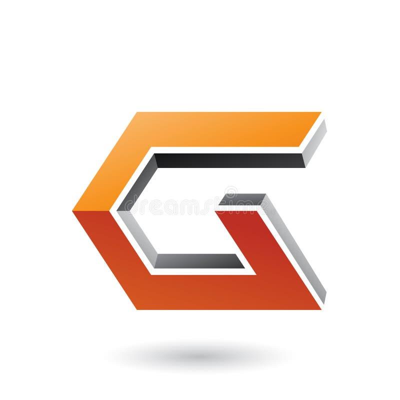 Grijs en Oranje 3d Hoekig Pictogram voor Brieveng Vectorillustratie stock illustratie