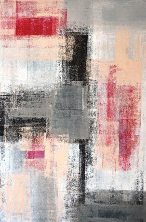 Grijs en Rood Abstract Art Painting royalty-vrije illustratie