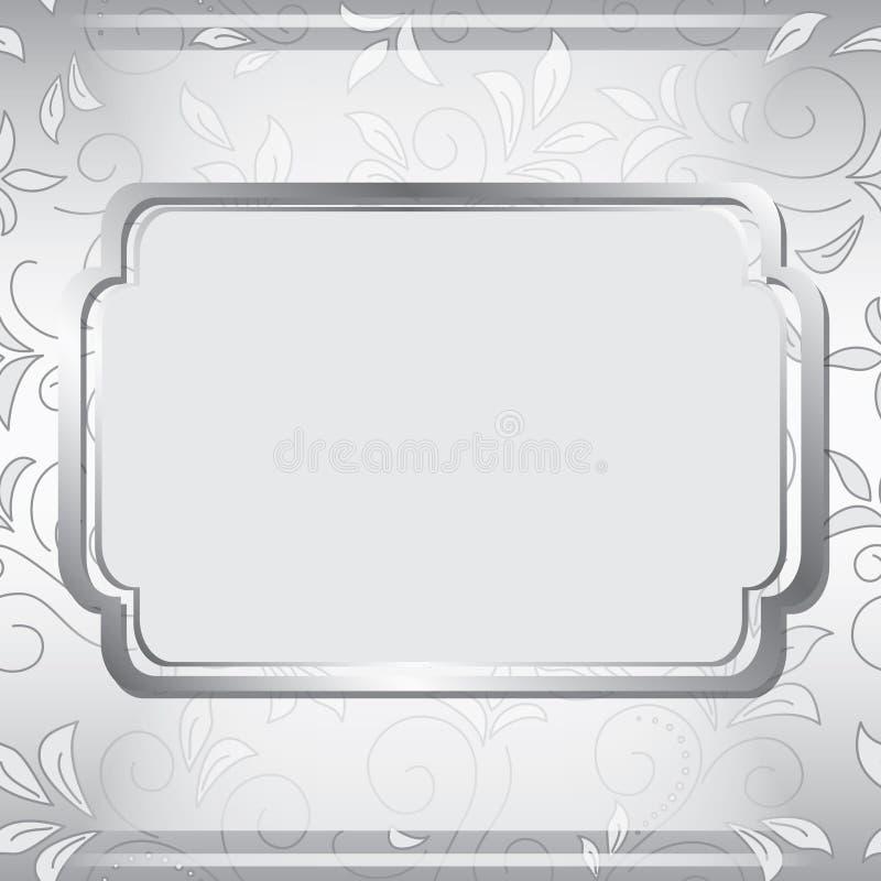 Grijs frame op bloemenachtergrond vector illustratie