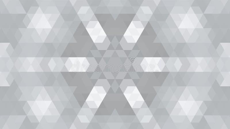 Grijs geometrisch ontwerp, grijze abstracte achtergrond Mozaïek van een vectorcaleidoscoop, Patroon voor bedrijfsadvertentie, boe stock illustratie