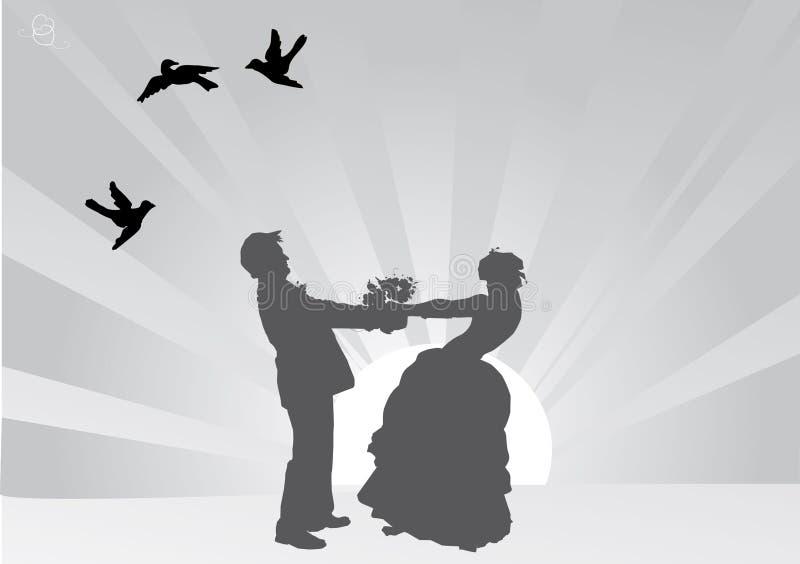 Grijs het paarsilhouet van het kleurenhuwelijk vector illustratie