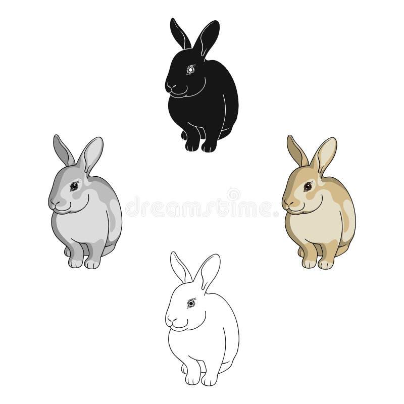 Grijs konijn De dieren kiezen pictogram in beeldverhaal, het zwarte Web van de de voorraadillustratie van het stijl vectorsymbool stock afbeeldingen
