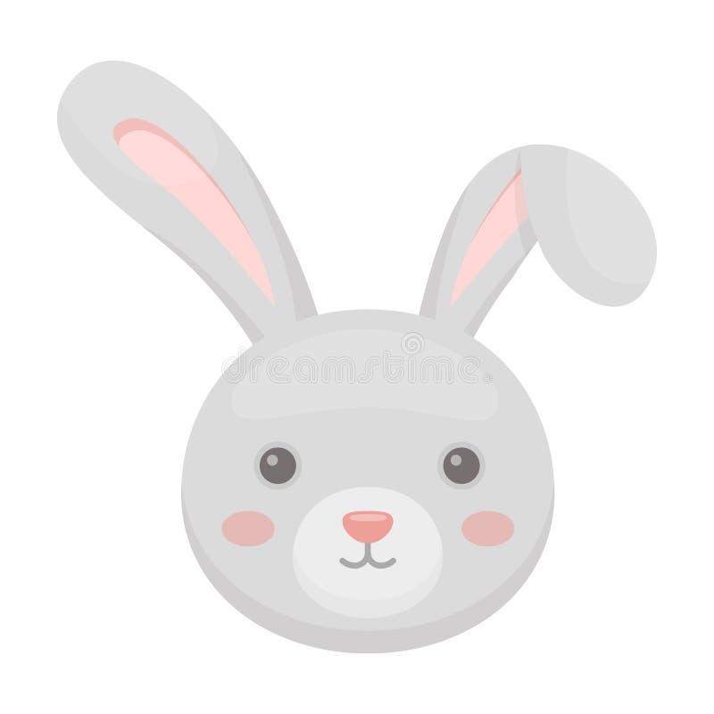 Grijs konijn met lange oren Het enige pictogram van Pasen in illustratie van de het symboolvoorraad van de beeldverhaalstijl de v royalty-vrije illustratie