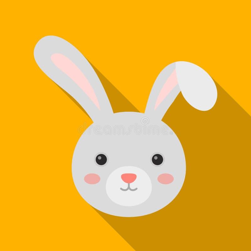 Grijs konijn met lange oren Het enige pictogram van Pasen in vlakke de voorraadillustratie van het stijl vectorsymbool royalty-vrije illustratie