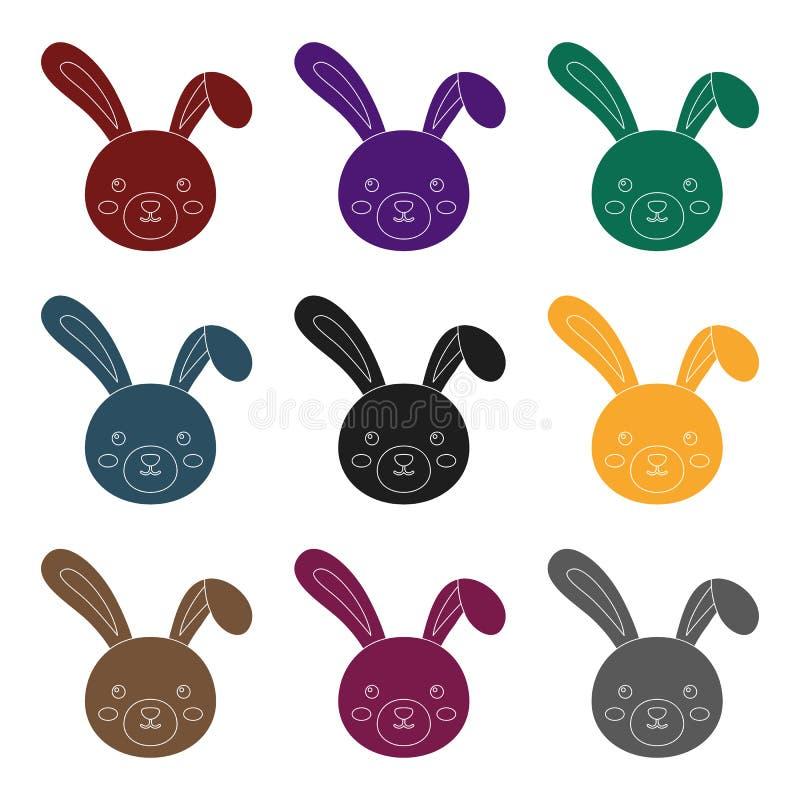 Grijs konijn met lange oren Het enige pictogram van Pasen in zwarte de voorraadillustratie van het stijl vectorsymbool royalty-vrije illustratie