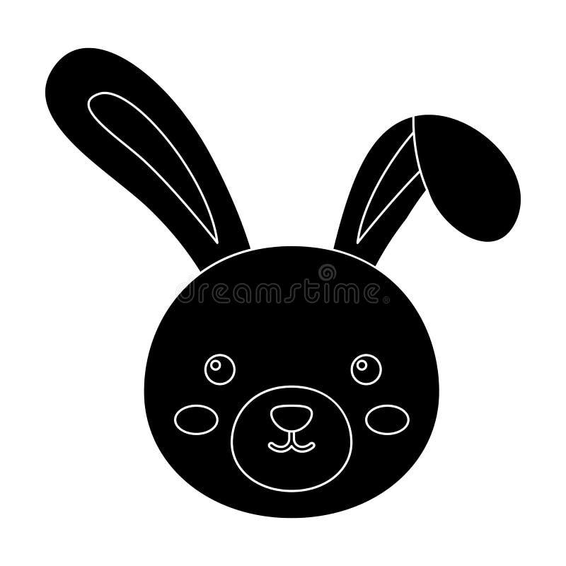Grijs konijn met lange oren Het enige pictogram van Pasen in zwarte de voorraadillustratie van het stijl vectorsymbool stock illustratie