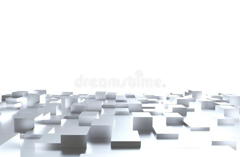 Grijs kubussen abstract patroon als achtergrond 3D Illustratie royalty-vrije stock afbeeldingen