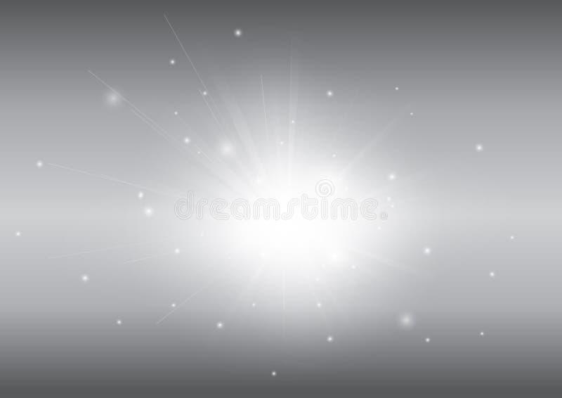 Grijs met de gloeiende abstracte achtergrond van de lichte straalstraal royalty-vrije stock fotografie