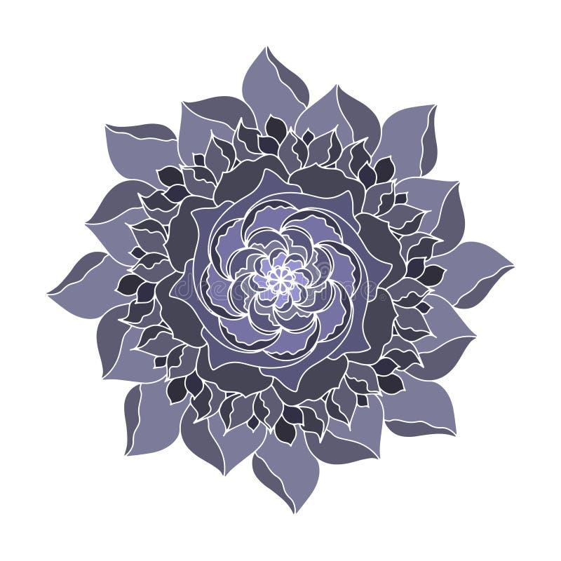 Grijs nam organische installatie van het Bloem de vectorpictogram toe Hand getrokken huwelijksaffiche of prentbriefkaar De bloeme vector illustratie