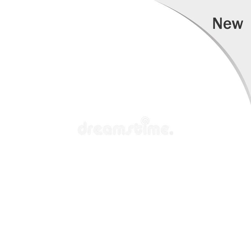Grijs NIEUW kenteken in de hoek van de pagina Nieuw tekstkenteken in hoek van pagina vectoreps10 vector illustratie