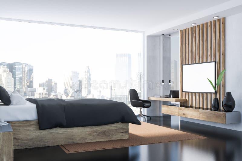 Grijs slaapkamerbinnenland met TV royalty-vrije illustratie