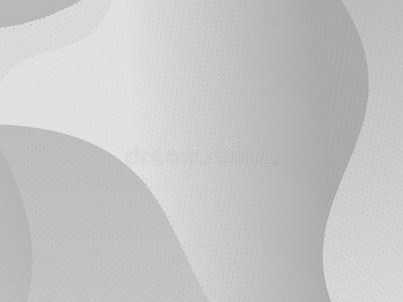 Grijs-wit halftone modern licht art. De gradiënt vertroebelde patroon met roostereffect, vlotte, golvende lijnen, vormen stock illustratie