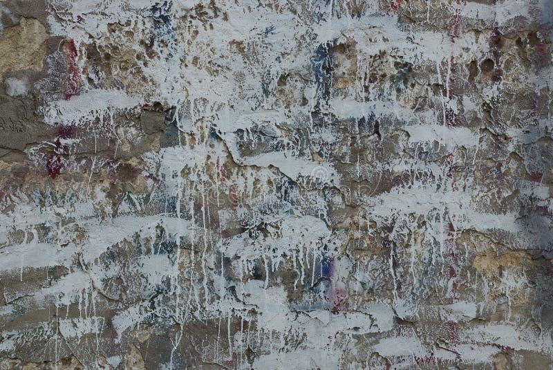 Grijs-witte textuur van verfvlekken op oude muur royalty-vrije stock foto