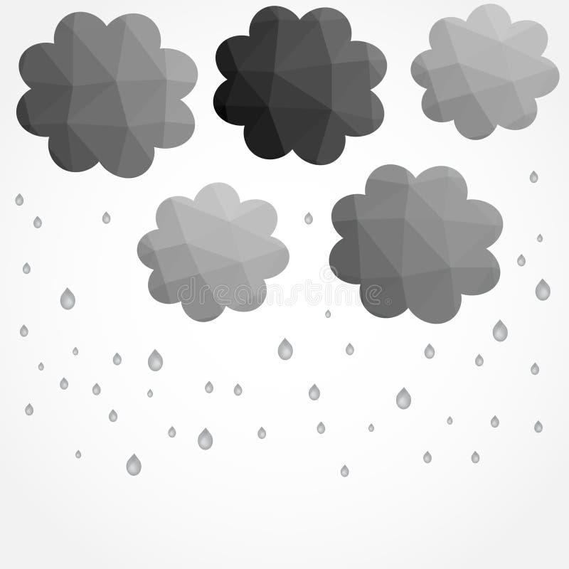 Grijs wolkenblad in lage polystijl vector illustratie