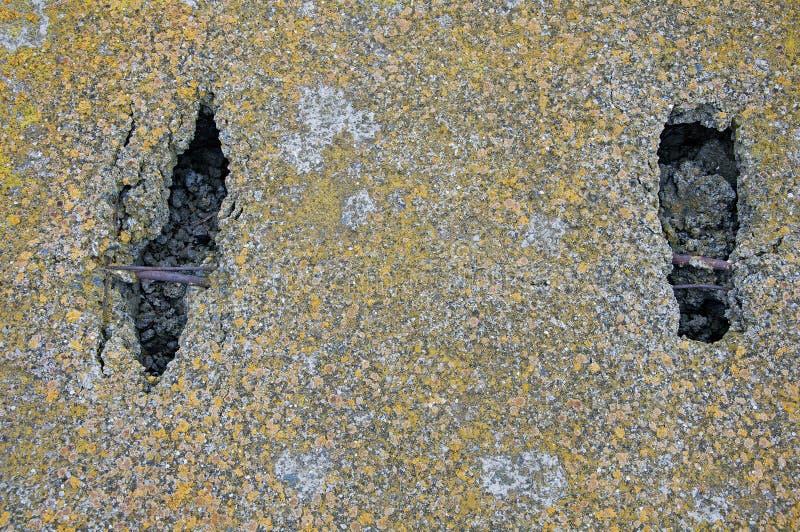 Grijze achtergrond en textuur van concrete plakken Behandeld met mos Voetafdrukken op concrete plakken royalty-vrije stock foto's