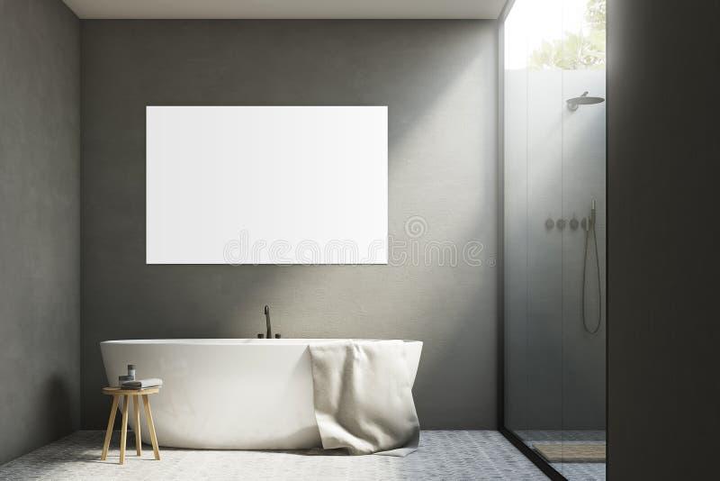Grijze badkamers met een ton en een affiche royalty-vrije illustratie