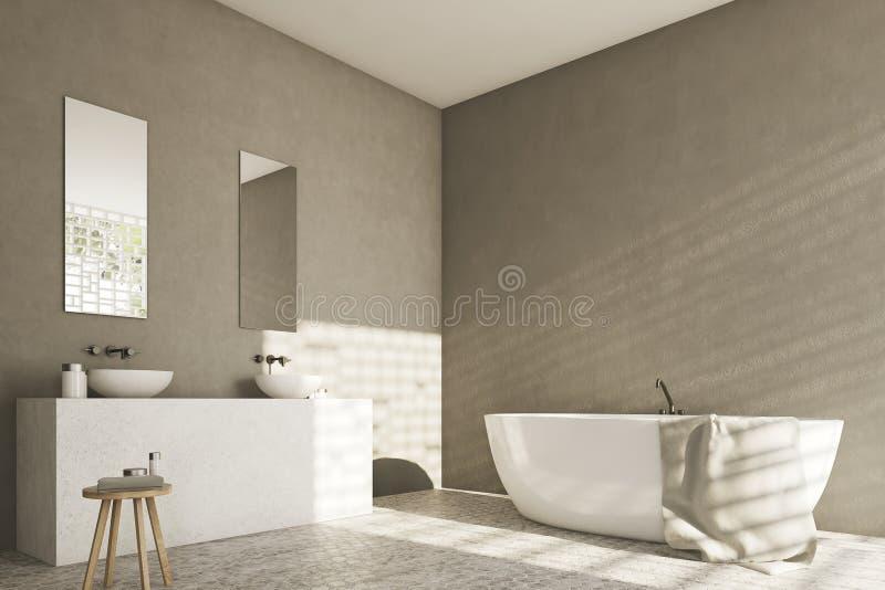 Grijze badkamers met gootstenen, hoek vector illustratie