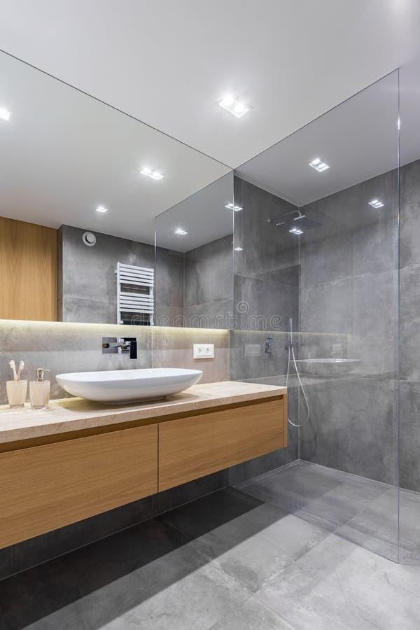 Grijze badkamers met lange countertop royalty-vrije stock foto