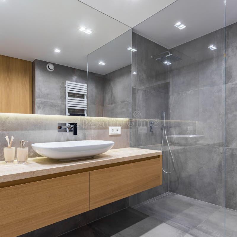 Grijze badkamers met lange countertop royalty-vrije stock afbeelding