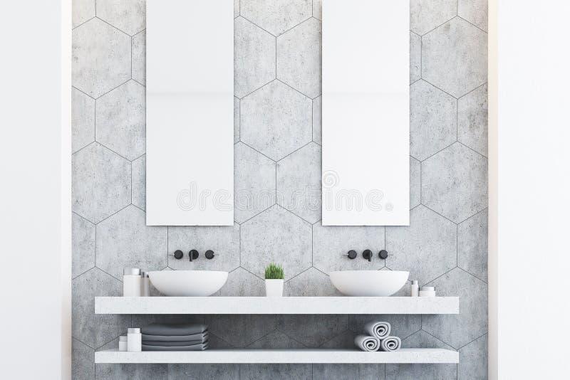 Grijze badkamers met twee gootstenen royalty-vrije illustratie
