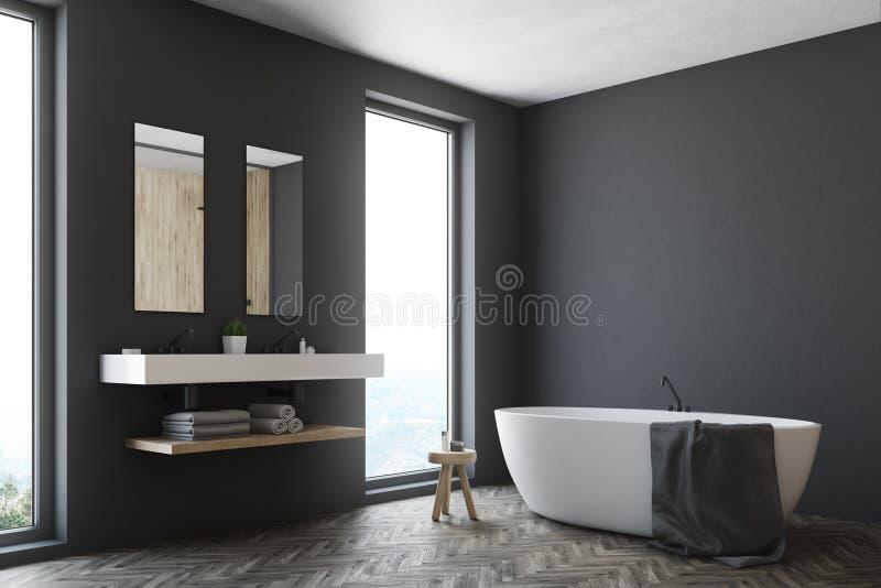 Grijze badkamers, witte ton, hoek stock illustratie