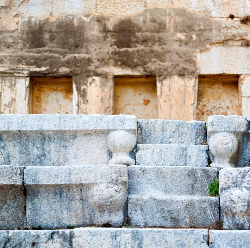 grijze baksteen in Turkije de textuursamenvatting van een ancie stock afbeelding