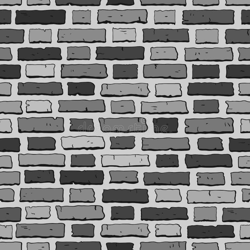 Grijze bakstenen muurtegel, naadloos patroon met bakstenen stock illustratie