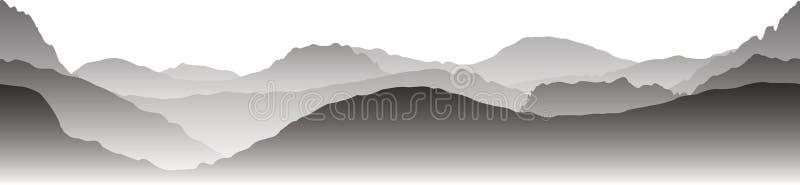 Grijze bergen in de mist Naadloze vector royalty-vrije illustratie