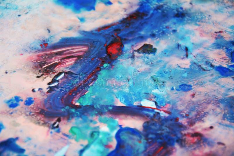Grijze blauwe roze zwarte zachte mengelingskleuren, het schilderen vlekkenachtergrond, waterverf kleurrijke abstracte achtergrond vector illustratie