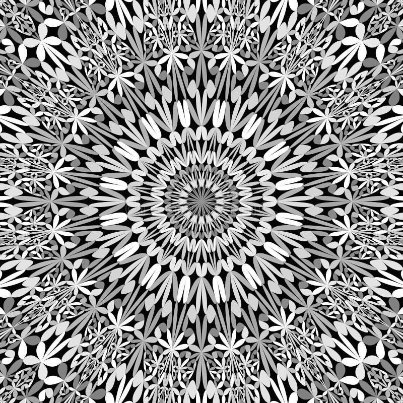 Grijze bloemen overladen mandalaachtergrond - abstract Boheems vectorbehang vector illustratie
