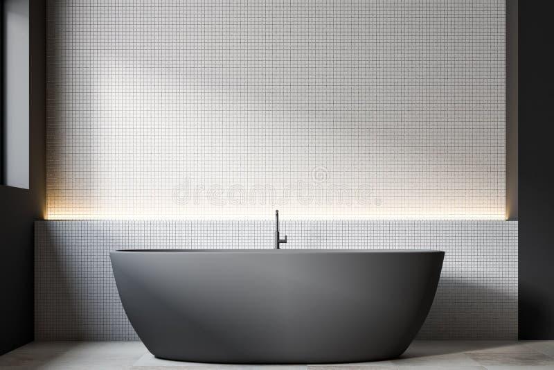 Grijze boot gevormde badkuip, witte tegels royalty-vrije illustratie