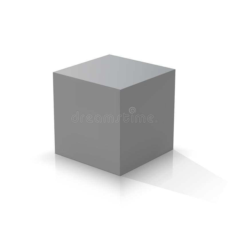 Grijze 3d kubus royalty-vrije illustratie