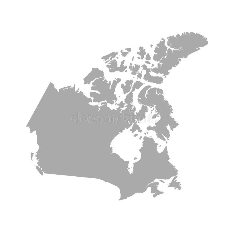 Grijze de kaart van Canada vector illustratie