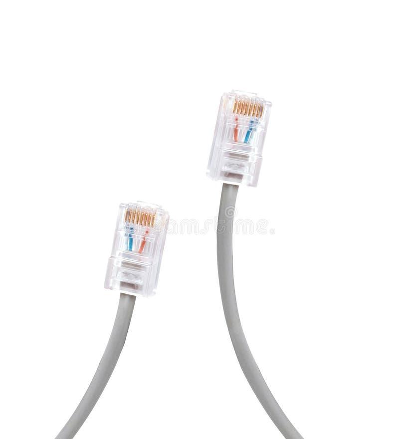 Grijze de kabelsstop van het ethernetnetwerk stock afbeeldingen