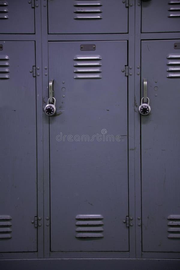 Grijze de Kast van de school stock afbeelding