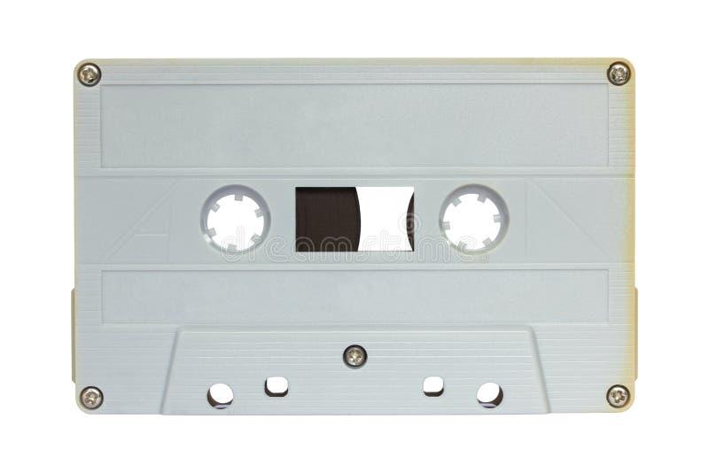 Grijze die cassetteband op wit wordt geïsoleerd royalty-vrije stock foto