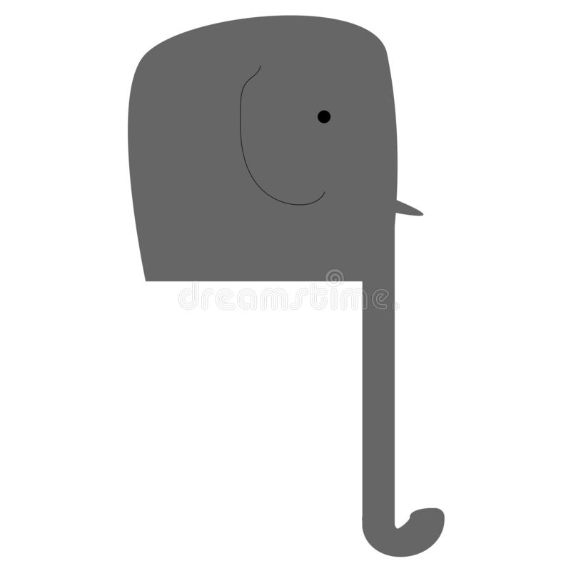 Grijze die olifant op witte achtergrond, vector wordt geïsoleerd vector illustratie