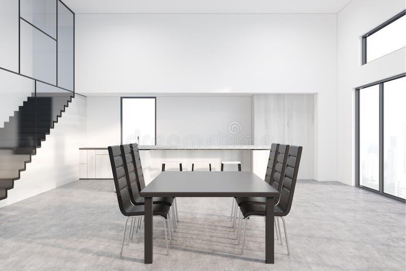 Grijze eettafel met ontwerpstoelen royalty-vrije illustratie