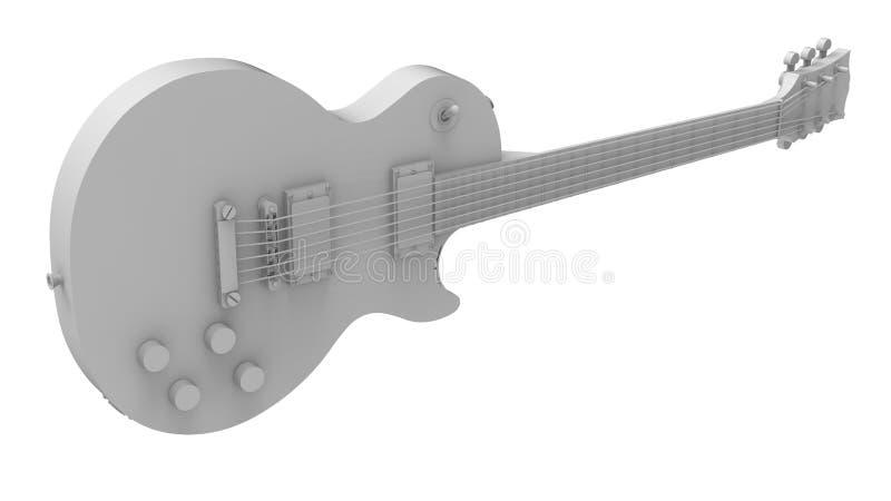 Grijze elektrische gitaar op witte achtergrond het 3d teruggeven stock illustratie
