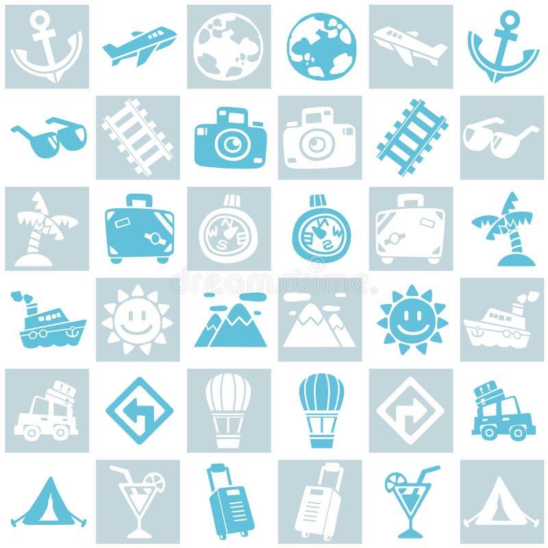 Grijze en blauwe naadloze achtergrond van reis/vakantiepatroonthema stock illustratie