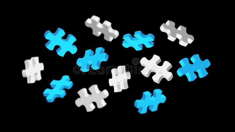 Grijze en blauwe raadselstukken & x27; 3D rendering& x27; stock illustratie