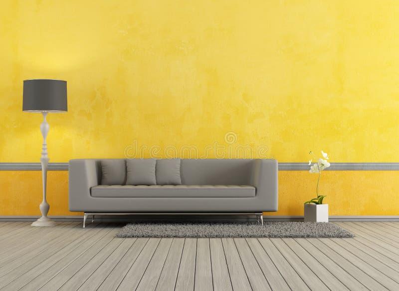 Grijze en gele woonkamer stock illustratie