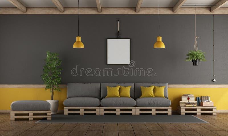 Grijze en gele woonkamer met palletbank stock illustratie