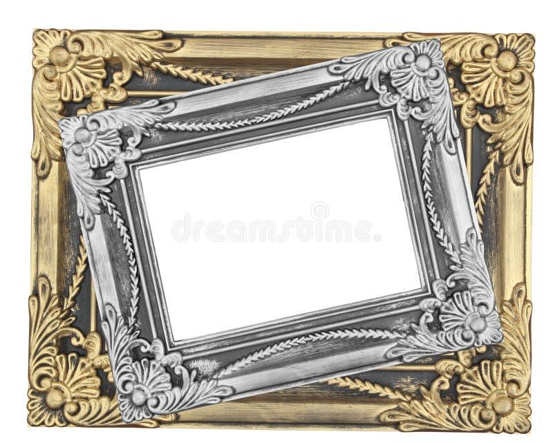 Grijze en gouden omlijsting met een decoratief patroon op wit royalty-vrije stock foto's