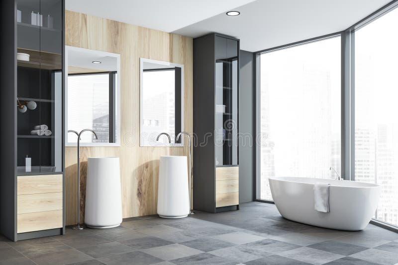 Grijze en houten badkamershoek, ton en gootstenen stock illustratie