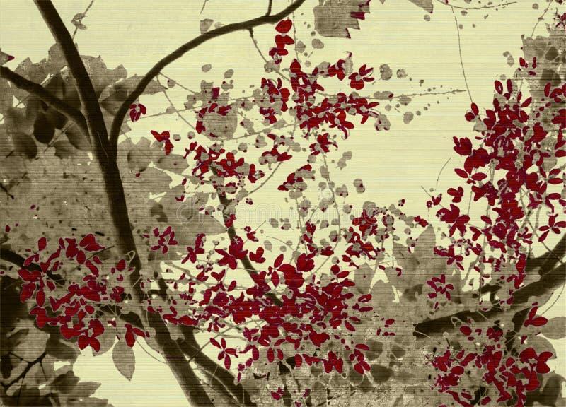 Grijze en rode bloesemaf:drukken op geribbelde room stock foto